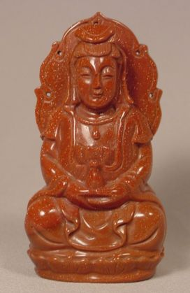 Rare Carved Goldstone Seated Buddha
