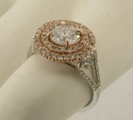 Vintage 102 Diamonds Ring 14k Bi Color Gold 1.89 Carats