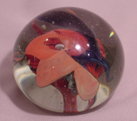 Vintage Art Glass Paper Weight 1972 Free Form Style