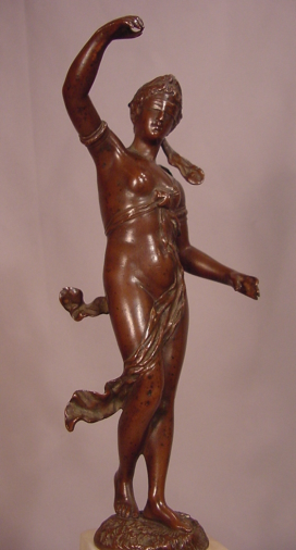 Beautiful Antique Circa 1900 Semi Nude Lady Bronze Signed Eichberg