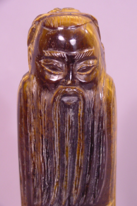 Wonderful Vintage Chinese Carved Tiger's Eye sculpture with Long Beard & Robe