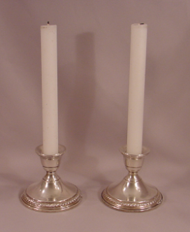 Pair of Antique Sterling Silver Weighted Candlesticks