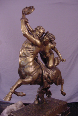 Superb Centaur Nessus & Deianeira Antique Gilt Bronze Signed J.Leduc (1848-1918)