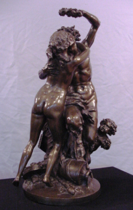 Magnificent Antique Bronze Clodion Barbedienne Foundry Satyr Nude Nymph Bachus