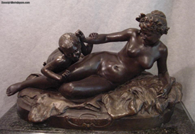 Mythological Nude Nymph with Young Satyr Antique Bronze Henri Allouard 1844-1929