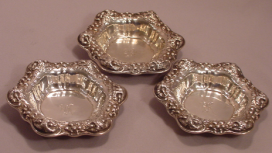 3 Antique Art Nouveau Sterling Silver Floral Repousse Nut Bowls