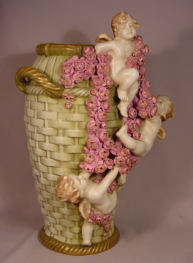 Exquisite Antique Amphora Vase with Cherubs & Flowers 17 Inches High