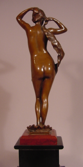 Beautiful Antique Nude Bronze Lady Signed P. Aichele ( Paul Aichele 1859-1910 )