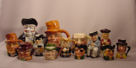 Instant Collection of 13 Small Toby Jugs 2 to 4-1/2 Inches