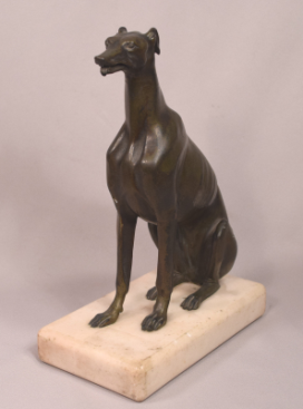 Antique Seated Bronze Greyhound on Marble Base Moveable Mouth
