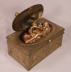 Rarest Antique Vienna Bronze Erotica Bergman Cherub Satyr Nymph Mechanical Box