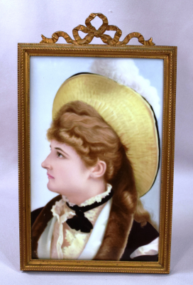 Beautiful Art Nouveau Painting On Porcelain Plaque Young Lady With Plumed Hat