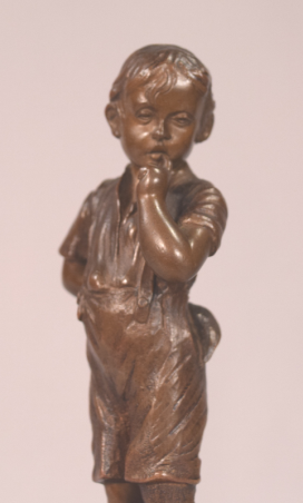 Beautiful Antique Austrian Bronze Boy Hiding Pipe Behind Him Signed R. Langer