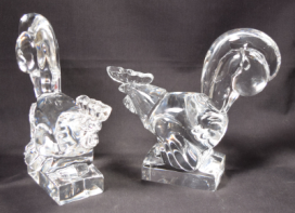 Rare Pair Art Deco Steuben Glass Roosters # 7847 by Frederick Carder Circa 1925