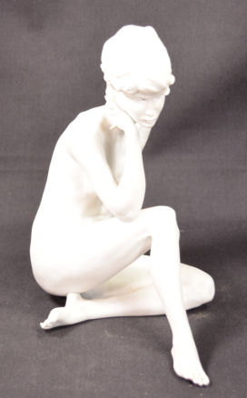 Beautiful Kaiser White Bisque Porcelain Seated Nude Lady Figurine