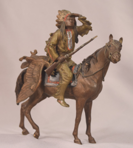 Antique Bergman Vienna Bronze Indian Chief On Horseback With Rifle & Eagle