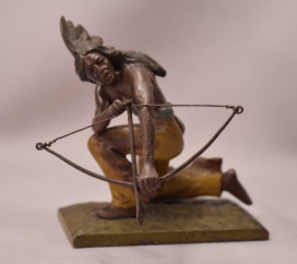 Antique Cold Painted Vienna Bronze Indian Chief With Bow & Arrow