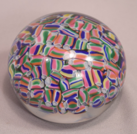 Beautiful Baccarat Crystal Paper Weight Macedoine Motif Multi-Colored Millefiori