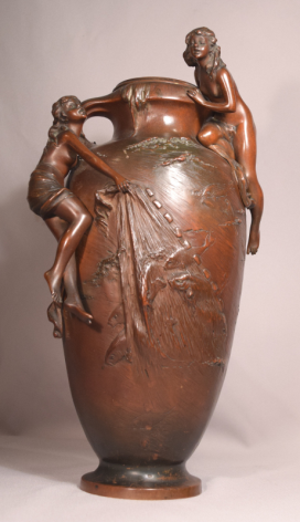 Exquisite Antique French Art Nouveau Bronze Vase With Nymphs Catching Fish