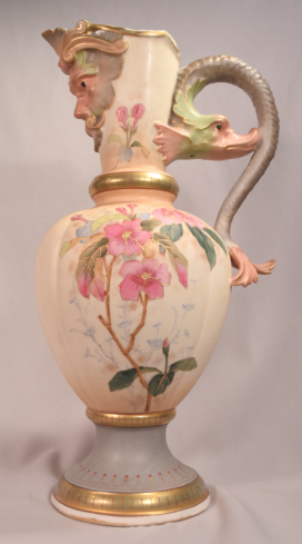 Rare European Porcelain Ewer with a Mythological Dolphin & Bearded Man Face