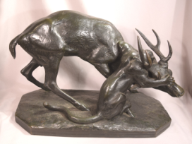 Superb Antique Barye Bronze Sculpture Lion Attacking A Stag Susse Fres Foundry Marked