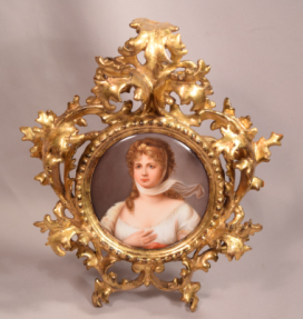 Beautiful Painted Porcelain Plaque Queen Louise Set in Ornate Gilt Wood Frame
