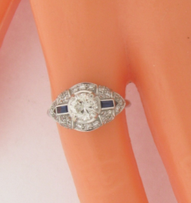 Beautiful Vintage Diamonds Sapphires Art Deco Design White Gold Ring