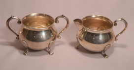 Vintage Marked F.B RODGERS Sterling Silver #136 Sugar & Creamer