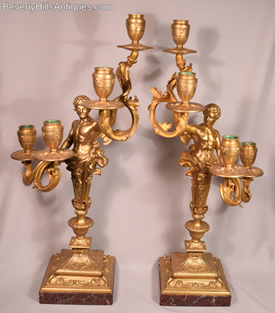Pair of Antique Male Angels Gilt Bronze 4 Light Candelabras Rouge Marble Bases