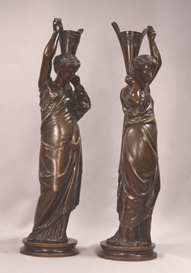 Pair Of Continental Antique Female Bronze Candle Holders