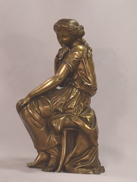 Antique Mathurin Moreau French 19th Century Sculpture Lady With Bird