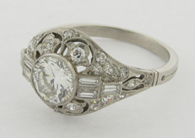 Beautiful Art Deco .86 CT Center Diamond I Color VS-2 Clarity +32 Diamonds Ring