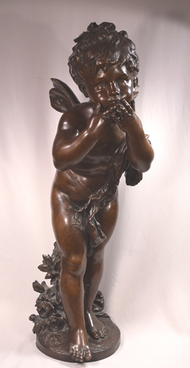 Exquisite Antique French Bronze Sculpture Young Psyche Signed Auguste Moreau