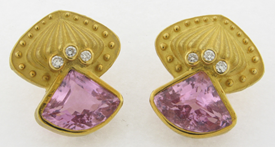 Exquisite Signed Pair Designer Nerso 18k Yellow Gold Diamonds Kunzite Earrings