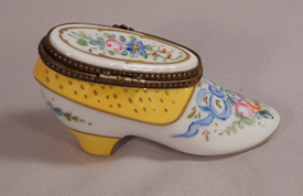 Rare Hand Painted French Porcelain Shoe Pill Or Trinket Box Artist Signed France