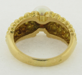 Fred Joaillier 18K Gold and 7mm Pearl Ring Signed FRED 750