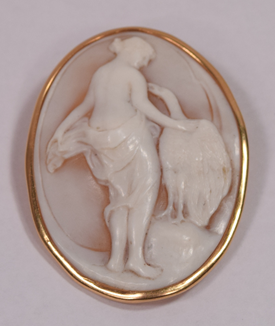 Beautiful Unique Antique 18K Mounted Shell Cameo Leda and Swan Pendant Brooch