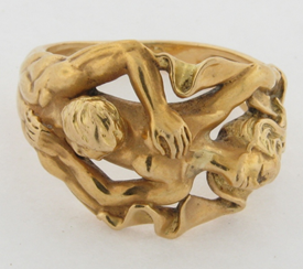 Sculptured Signed Carrera Y Carrera 18K Gold Numbered 91046 Lovers Ring Size 8.5