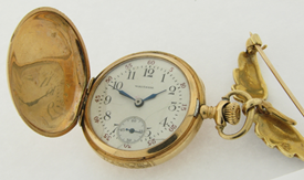 Antique 14K Gold and Diamond Ladies Hunting Case Watch With Original 79 Pearls