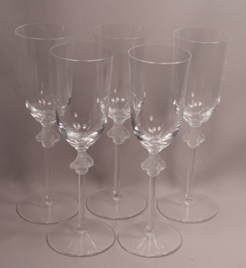 Five Lalique Roxanne French Art Glass Champagne or Wine Stems 8-3/4 Inches