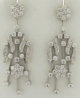 Exquisite Leo Pizzo 3.6 Carat Diamonds GH Color VS1 Clarity Earrings 18K WG
