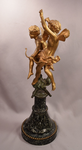 Beautiful Antique Gilt Bronze 2 Cherubs With Bow and Arrow