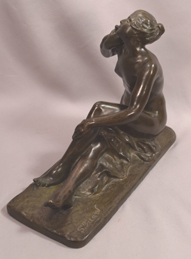 Beautiful Bronze Seated Nude With Dove Signed S. Bizzard French 1873-1963