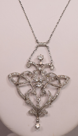 Antique Art Nouveau Platinum Diamonds Necklace 2.90 Carats Diamonds TCW