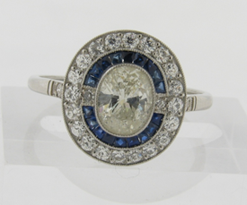 Beautiful Art Deco Design .80 C Center Oval Diamond Sapphires Diamonds Halo Ring