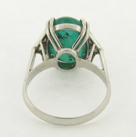 Vintage 6.73 Oval Cabochon Emerald, Diamonds and Platinum Art Deco Design Ring