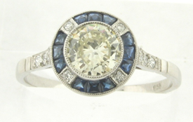 Beautiful Vintage Art Deco .67 Carat Old European Center Diamond Sapphires Ring