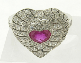 Superb 1.66 Carat Diamonds Gem Natural .85 Heart Shaped Ruby Art Deco Ring