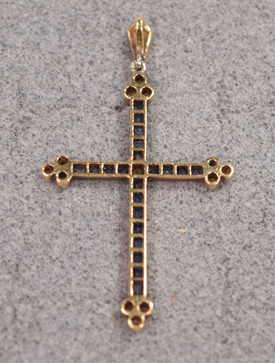 Antique Diamonds Sapphires Pendant Cross 18K Gold