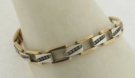 Vintage Unisex Bracelet 14K Gold 60 Silver Set Diamonds